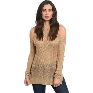 Open Shoulder Loose Knit Sweater Top